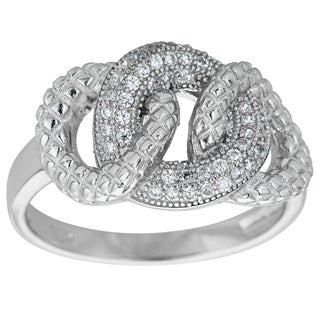 Decadence Sterling Silver Micropave Fancy Interlocking Circle Ring with Cubic Zirconia