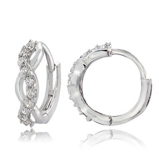 ICZ Stonez Sterling Silver Cubic Zirconia Infinity Mini Hoop Earrings