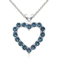 Glitzy Rocks Sterling Silver London Blue Topaz Open Heart Necklace