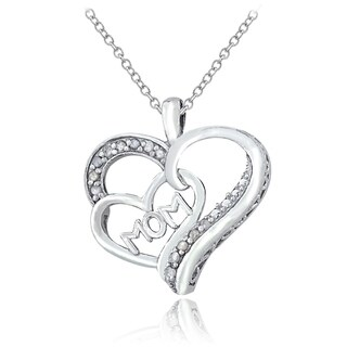 DB Designs Sterling Silver 1/8ct TDW Diamond 'Mom' Heart Necklace (I-J, I2-I3)