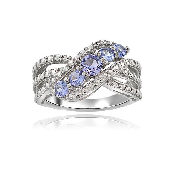 Glitzy Rocks Sterling Silver Diamond Accent Tanzanite Swirl Ring - White