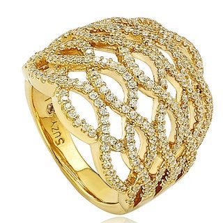 Suzy Levian Goldplated Sterling Silver Pave-set Cubic Zirconia 5-row Infinity Ring
