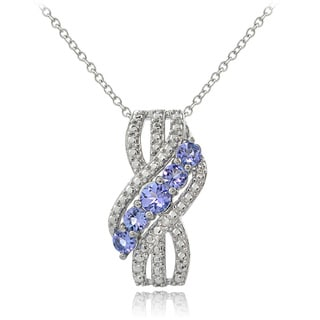 Glitzy Rocks Sterling Silver Diamond Accent Tanzanite Dangle Necklace