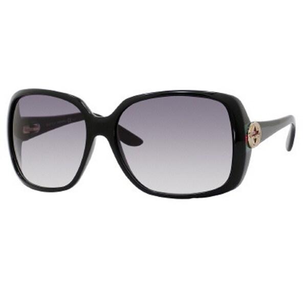 a0c62a3a93e Gucci Women  x27 s GG 3166 S Shiny Black Plastic Rectangular Sunglasses -