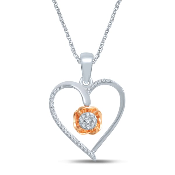 Shop Unending Love 10k Rose Gold And Sterling Silver 1/6ct