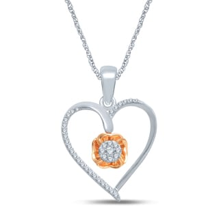 Unending Love 10k Rose Gold and Sterling Silver 1/6ct TDW Diamond Heart Necklace (H-I, I1-I2)