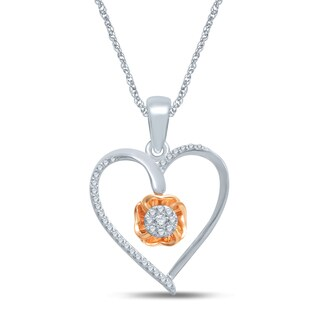 Unending Love 10k Rose Gold and Sterling Silver 1/6ct TDW Diamond Heart Necklace