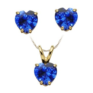 14k Yellow Gold Birthstone Heart Necklace and Earrings Set (More options available)
