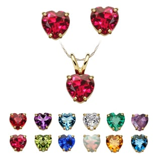 14k Yellow Gold Birthstone Heart Necklace and Earrings Set