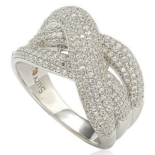 Suzy Levian Sterling Silver Micro Pave Cubic Zirconia Crossover Ring
