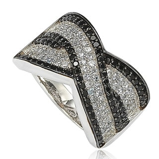 Suzy Levian Sterling Silver Black Cubic Zirconia Micro Pave Crossover 'X' Ring