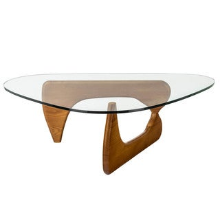 Poly and Bark Sculpture Hardwood Coffee Table with Clear Glass Top