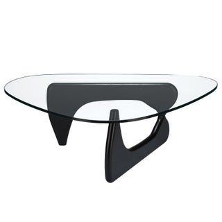 Poly and Bark Sculpture Hardwood Coffee Table with Clear Glass Top (Option: Black)
