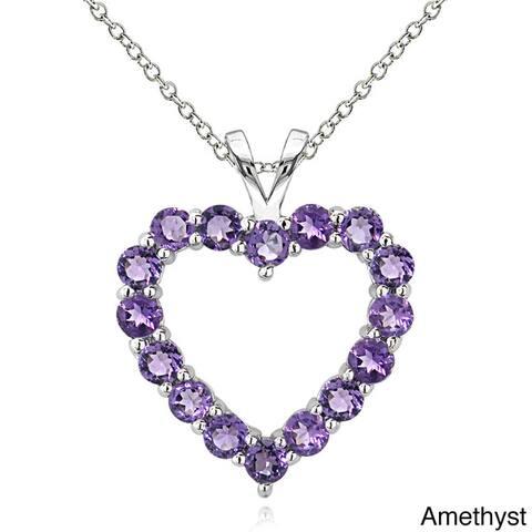 Glitzy Rocks Sterling Silver Birthstone Open Heart Necklace