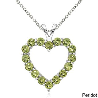 Glitzy Rocks Sterling Silver Birthstone Open Heart Necklace (More options available)