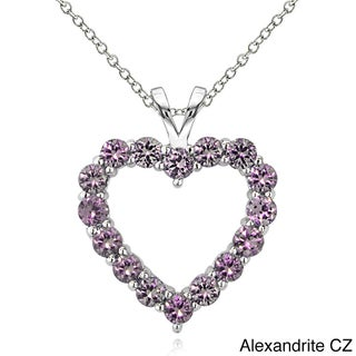 Glitzy Rocks Sterling Silver Birthstone Open Heart Necklace (2 options available)
