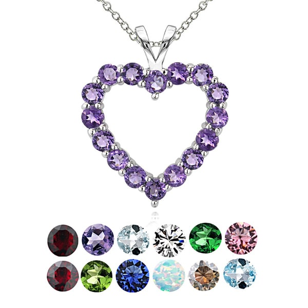 Glitzy Rocks Sterling Silver Birthstone Open Heart Necklace. Opens flyout.