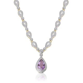 Dolce Giavonna Gold Overlay Diamond Accent Amethyst Teardrop Necklace