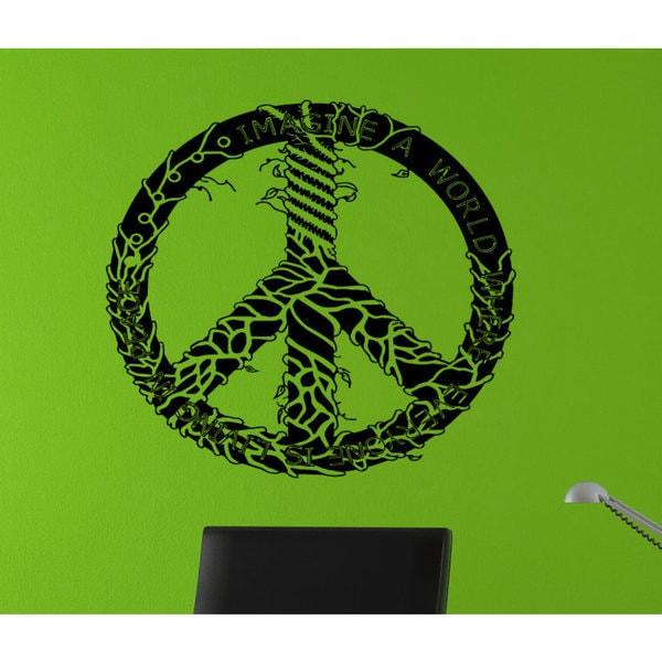 Imagine a World Peace Sign Sticker Vinyl Wall Art