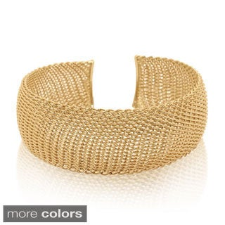 Sterling Silver Gold-plated Mesh Fenced Cuff Bangle