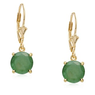 Dolce Giavonna Gold Overlay Gemstone Birthstone Leverback Earrings (2 options available)