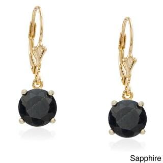 Dolce Giavonna Gold Overlay Gemstone Birthstone Leverback Earrings