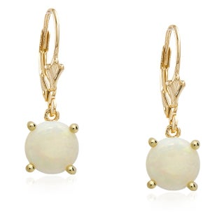 Dolce Giavonna Gold Overlay Gemstone Birthstone Leverback Earrings (3 options available)