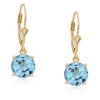 Dolce Giavonna Gold Overlay Gemstone Birthstone Leverback Earrings (More options available)