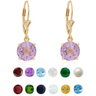Dolce Giavonna Gold Overlay Gemstone Birthstone Leverback Earrings (Option: February)