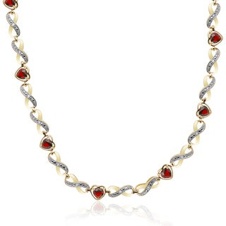 Dolce Giavonna Gold Overlay 1/4ct TDW Diamond Garnet Infinity Heart Necklace (I-J, I2-I3)