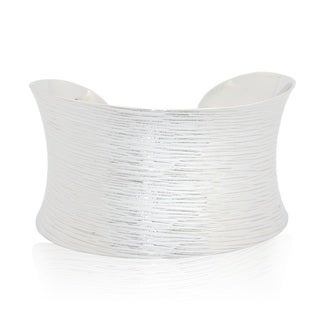 Sterling Silver Wide Concave Line Texture Cuff