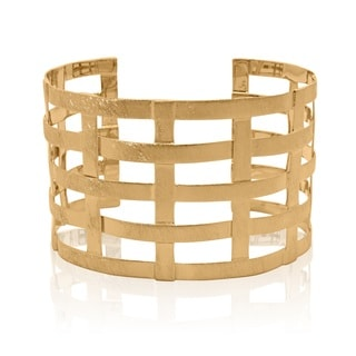 Yellow Gold-plated Sterling Silver Open Net Cuff