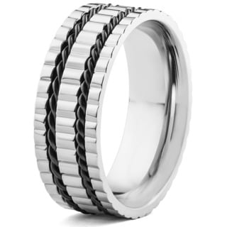 Men's Titanium Ridged, Grooved and Cable Inlay Band Ring (8 mm)