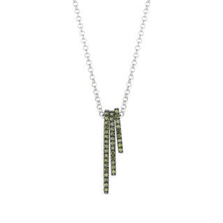 Sterling Silver Green Diamond Accent Stackable Bar Necklace