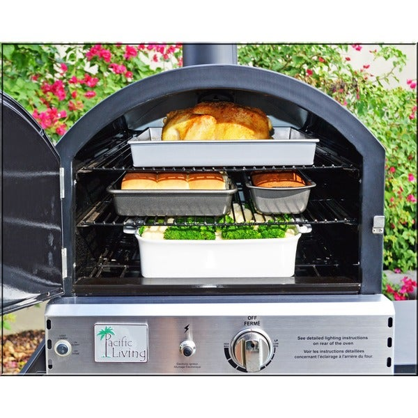 Pacific Living Black Powder Coat Protected Outdoor Gas Oven Free Shipping T