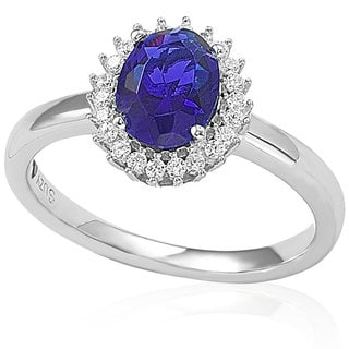 Suzy Levian Sterling Silver Created Blue Sapphire Ring