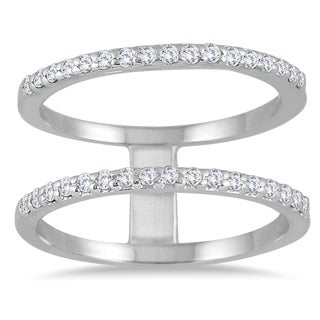 Marquee Jewels 10K White Gold 3/8ct Diamond Double Row Ring