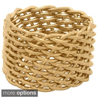 Gold over Silver Mesh Link Fenced Ring