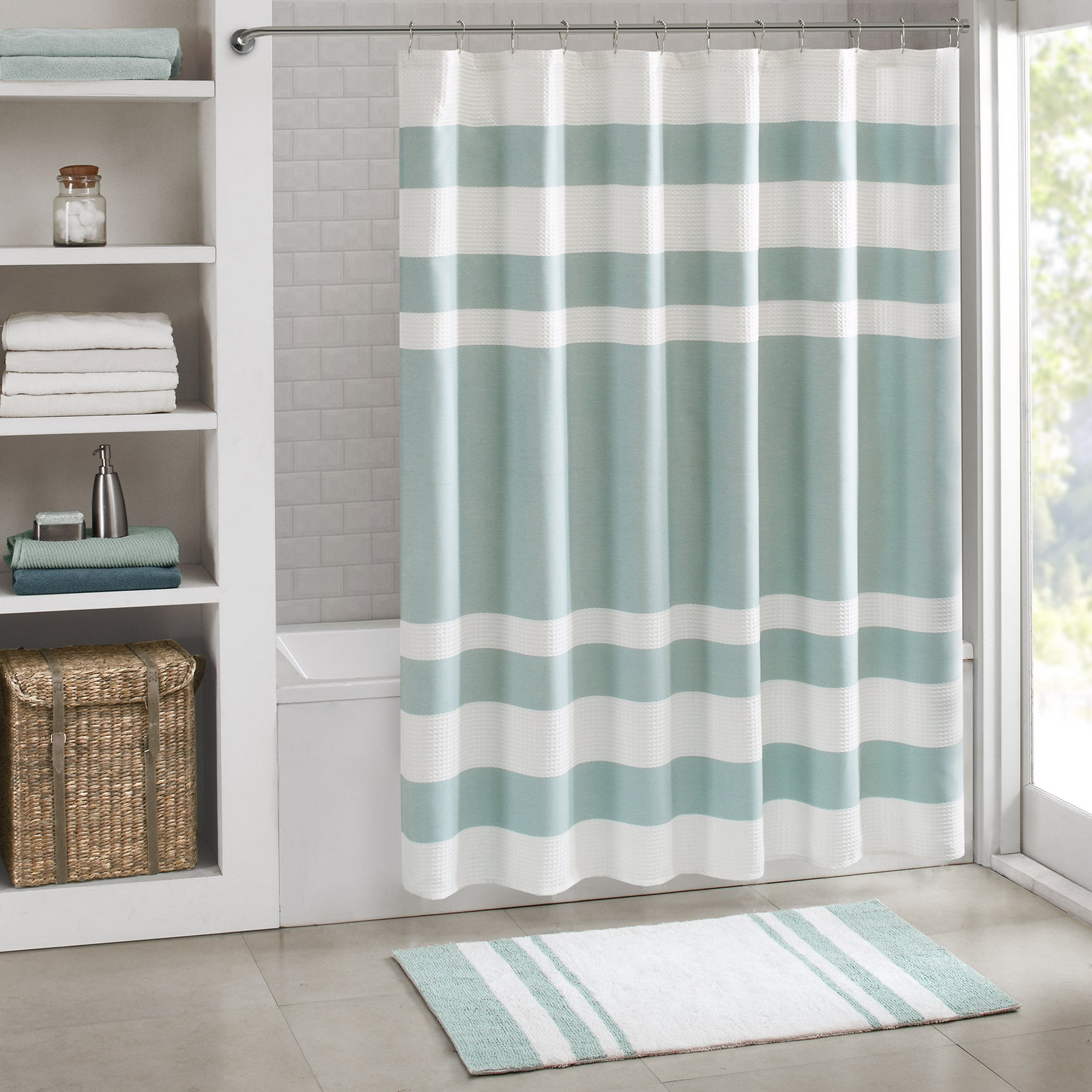 Shop Madison Park Spa Waffle Shower Curtain With 3m Treatment Free