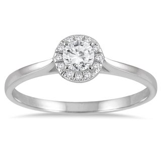 Marquee Jewels 14k White Gold 1/3ct TDW Diamond Halo Promise Ring