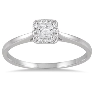 Marquee Jewels 14k White Gold 1/3ct TDW Diamond Halo Square Promise Ring