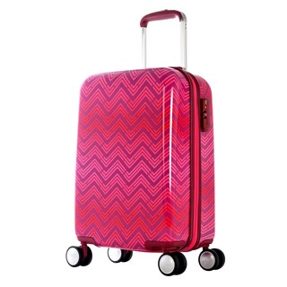 Olympia T-Line 21-inch Pink Chevron Polycarbonate Hardside 4-wheel Spinner Carry-on Suitcase