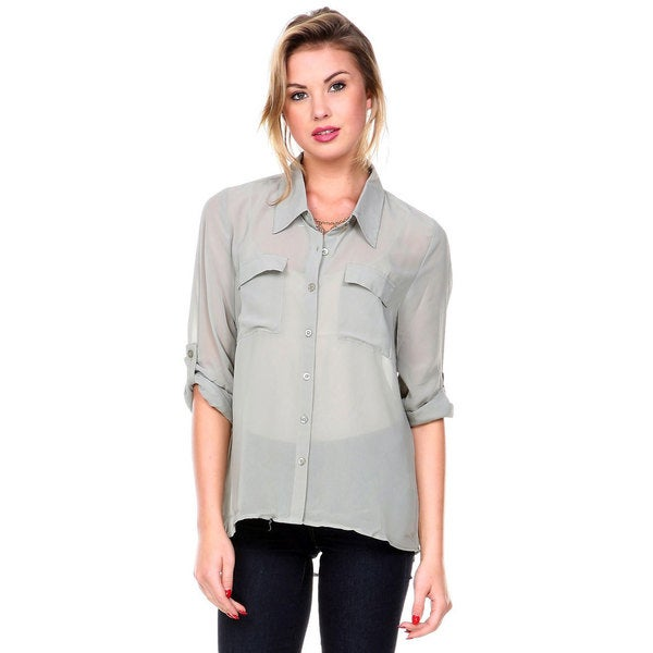 Stanzino women 39 s long sleeve button down chiffon shirt for Women s button down shirts extra long