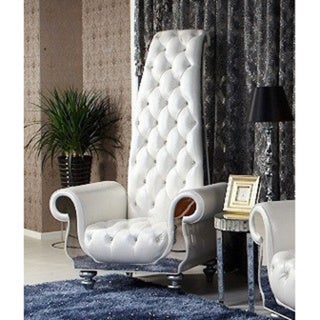 Divani Casa Luxe Neo Classical White Italian Leather Tall