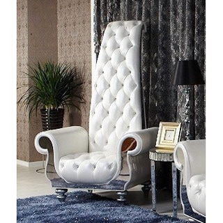 Divani Casa Luxe Neo-Classical White Italian Leather Tall Chair