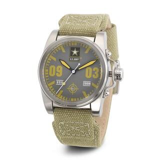 Wrist Armor Men's WA204 U.S. Army C1 Yellow Accent Green Strap Watch