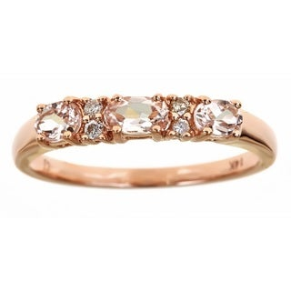 Anika and August 14k Rose Gold 3-stone Morganite and Diamond Ring