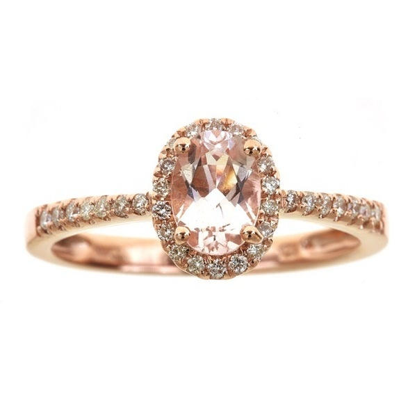 Anika and August 14k Rose Gold Oval-cut Morganite 1/5ct TDW Diamond Ring (G-H, I1-I2) (Size 7)