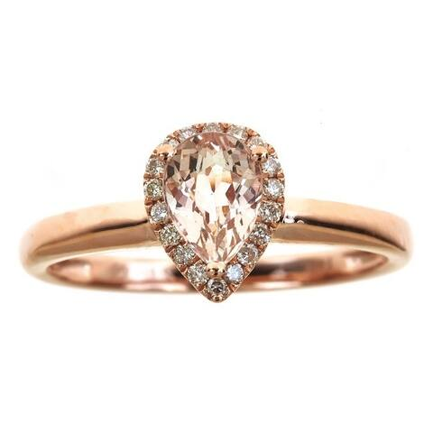 Anika and August 14k Rose Gold Pear-cut Morganite 1/8ct TDW Diamond Ring (G-H, I1-I2)