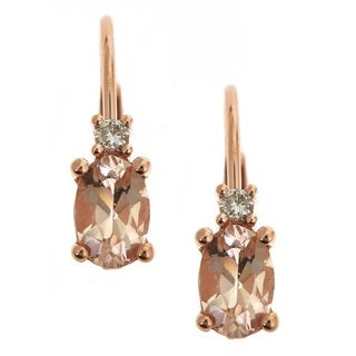 Anika and August 14k Rose Gold Morganite and Diamond Accent Dangle Earrings